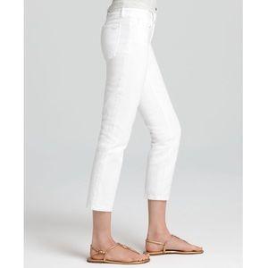 Tory Burch white Alexa cropped skinny jeans
